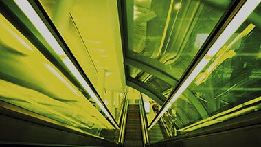 Green yellow neon escalators